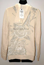 ED HARDY CHRISTIAN AUDIGIER HOODIE White ROSE Skull Butterfly Women's Jacket S