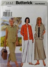 Butterick Pattern #3532 Misses Jacket Vest Top Skirt Pants Size (14-16-18)