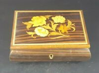Vintage MCM Reuge Italy Swiss Movement  Wood Inlay Music Jewelry Box flowers