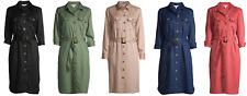 Time And Tru Women's Woven Utility Shirt Dress