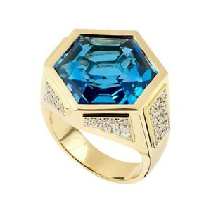Men's Ring 14k Yellow Gold over 925 Sterling Silver Solitaire CZ Blue Hexagon