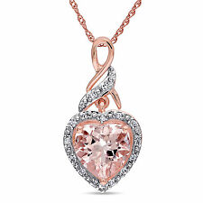 10k Rose Gold Morganite and Diamond Heart Pendant Necklace