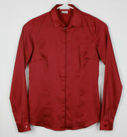 Van Heusen Studio Womens Shirt Size XS Tailored Fit Red Long Sleeve Button Front