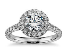 Round Shape Halo Ring Sterling Silver Aaaa Cubic Zirconia