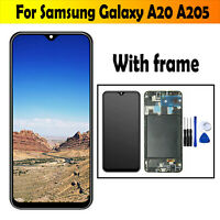 For Samsung Galaxy A20 A205 TFT LCD Display Touchscreen Digitizer Assembly Frame