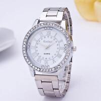 Men Women Watches Luxury Crystal Dial Stainless Steel Analog Quartz Wrist Watch