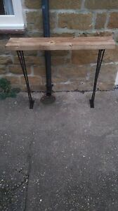 Bespoke H80 x W60 x D22cm steampunk rustic black industrial steel console table