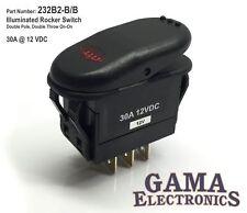 Illuminated 30 Amp DPDT 2 Position On-On Rocker Switch - 232B2-B/B