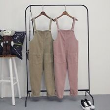 Women Casual Corduroy Overalls Dungaree Jumpsuit Harem Ankle Length Pants Pocket