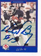 Ed Berry Toronto Aronauts 1991 CFL Jogo Autographed Card