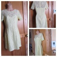 Oasis women's size 8 dress lemon lace fully lined fitted occasion wedding smart