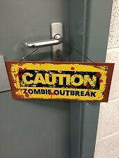 Halloween Attenzione Zombie Outbreak Segno Decorazione Festa Prop decorazioni da appendere
