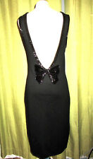 New listing Vintage 80s 90s Cathy Hardwick Black Beaded Bow Low-Back Knit Dress M/L
