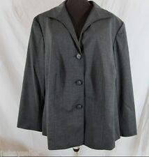 Lafayette 148 Dk Grey SMOKE Collared Wool Knit Jacket LINED 20W NWT Retail $448