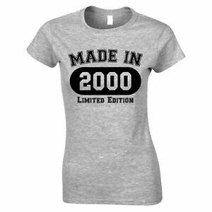 21st Birthday Womens TShirt Made in 2000 Limited Edition Twenty First One Tee