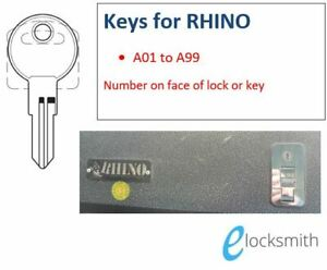Keys to suit RHINO Tool Box cut to your key code number A01-H99 FREE POST