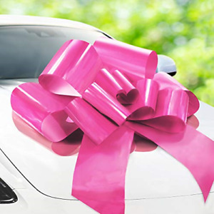 Zoe Deco Big Car Bow (Pink, 30 inch) with 2 Gold Accessory Bows, Giant Presen...