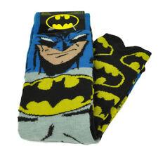 DC Comics Batman Superhero 2 Pairs Long Socks Mens Shoe Size 6-12 Black Yellow