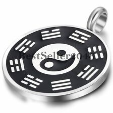 Retro Ethic Yin Yang Bagua Taiji Stainless Steel Men's Lucky Pendant Necklace