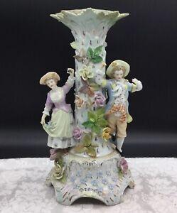 Carl Thieme Antique Porcelain Candlestick Romantic Couple Figural Flower Dresden