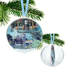 Nuremberg Germany Large Christmas Bauble with Glitter Snowflakes and Ribbon