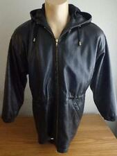 WILSON'S Small / Medium Front Zip Hooded Lined Leather Jacket Black