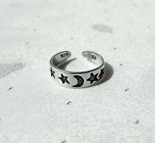 Moon & Stars Dedo Anillo 925 Plata Esterlina