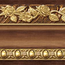 Brown Wallpaper Border Scroll Flower Molding Designed Moulding Interior Ideas