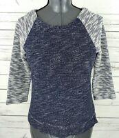 Coldwater Creek Top Womens XS Blue Striped Raglan 3/4 Sleeve Stretch 100% Cotton