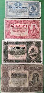 Hungary lot 4 banknotes 1920. VG-VF.