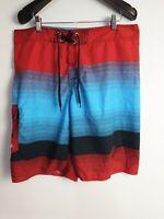 BILLABONG Men's Board Shorts Blue/Red/Black Stripe  Side Pocket Made in USA Size