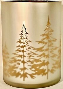Yankee Candle Frosted Gold Winter Trees Hurricane Md/Large Jar Candle Holder HTF
