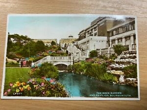 "1953 VINTAGE RPPC COLOURED REAL PHOTO POSTCARD ""ROCK GARDEN BOURNEMOUTH"" POSTED"