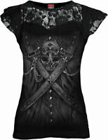 SPIRAL DIRECT STRAPPED Corset Lace Layered Top/Ladies/Steam punk/Goth/Skull/Top