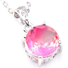 Round Lovely Pink Watermelon Bi Colored Tourmaline Gems Silver Necklace Pendants