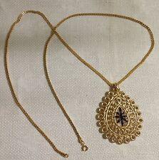 """Vintage Goldtone Metal Black Enamel Filigree Tear Drop Pendant 30.5"""" Necklace"""