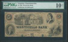 1860 CHARLOTTESVILLE VA $5.00 PMG10 VERY NICE 156 YEAR OLD NOTE JUST LQQK!!*