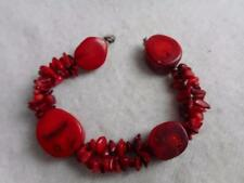 925 RED MEDITERRANEAN DOUBLE ROUGH CORAL STRAND & OVAL BEAD ACCENT BRACELET