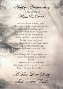 Happy Anniversary Dear Mum & Dad A5 Card - Parents Love Wedding Anniversary