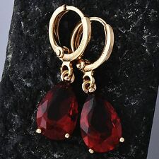 cute Womens Red ruby Dangle Earrings Yellow Gold Filled Water Drop Shape