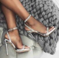Rhinestone Female Sandals Ankle Strap High Heels Stiletto Party Prom Slim Shoes