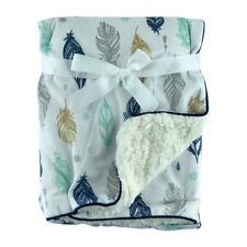 Multi Quill Mink Sherpa Fleece Baby Crib Pram Moses Blanket 75 x 100cm