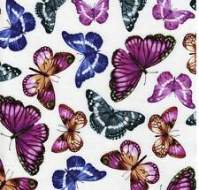 Benartex Papillion Butterfly White Floral Purple Violet Lavender Quilt Fabric