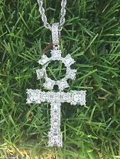 "Stone Pendant & 24"" Rope chain Baguette Mens Iced 14k Rhodium Finish Baguette"