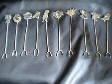Vintage Set of  Cocktail Forks - Alpaca Silver with Abolone