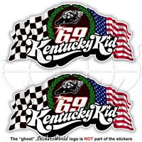 NICKY HAYDEN 69 Kentucky Kid MotoGP Racing 75mm Stickers Decals Aufkleber x2