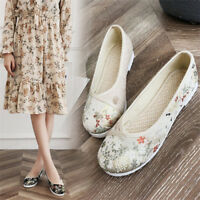 New Womens Round Toe Floral Embroidered Pumps Espadrilles Flats Shoes Size 8