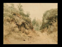 ANTIQUE 1890 CALIFORNIA LANDSCAPE WATERCOLOR PAINTING AC WOOD LISTED CALIFORNIA