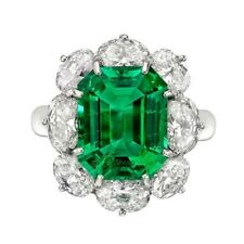 7Ct Asscher Cut Emerald Simulant Diamond Statement Ring White Gold Finish Silver