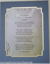 TO MY DAUGHTER ON HER WEDDING DAY POEM PERSONALIZE GIFT **L@@K**
